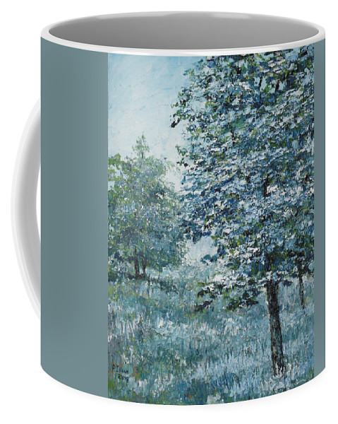 Tree Coffee Mug featuring the painting Blue Trees by Paul Illian