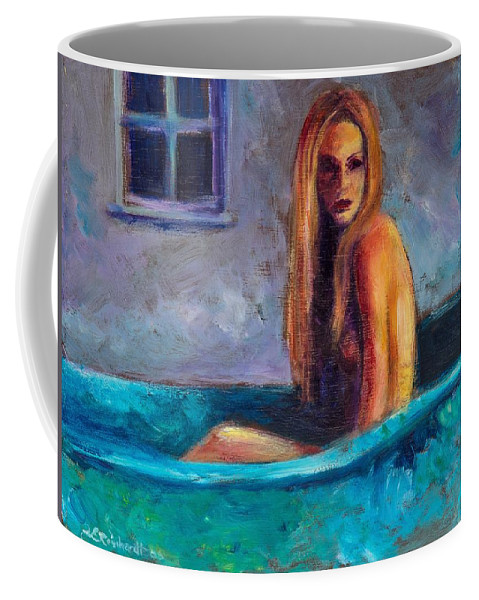 Nude Coffee Mug featuring the painting Blue Tub Study by Jason Reinhardt