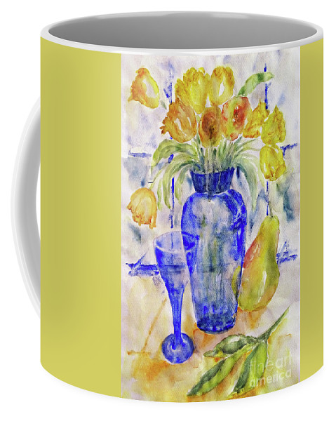 Tulips Coffee Mug featuring the painting Blue Vase by Jasna Dragun