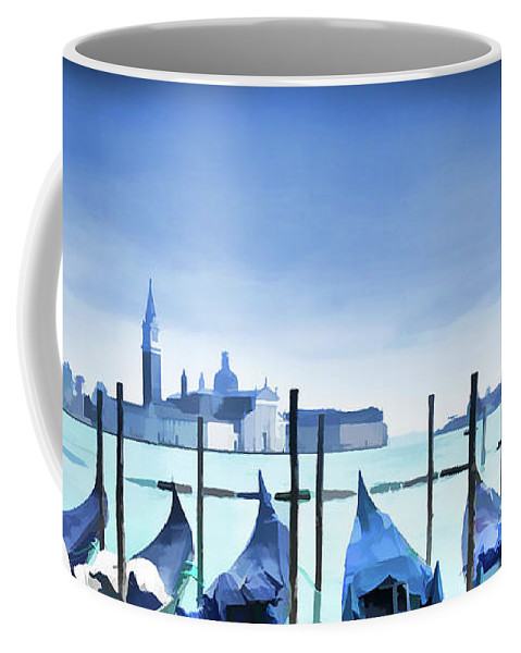 Venice Coffee Mug featuring the painting Blue Venice by Delphimages Photo Creations