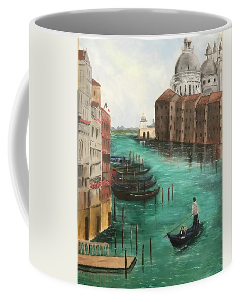 Landscape Coffee Mug featuring the painting Blue Venice by Shaheen Mehmood