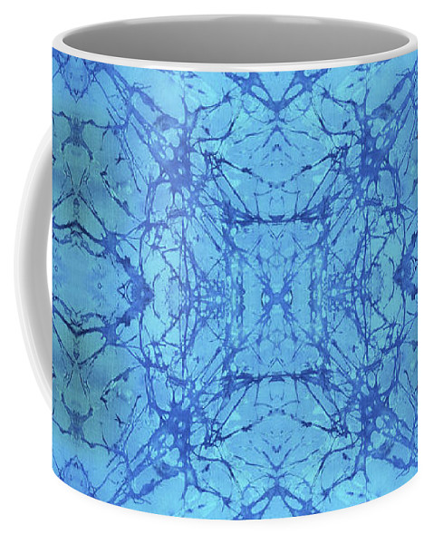 Blue Coffee Mug featuring the painting Blue Water Batik Tiled by Sue Duda