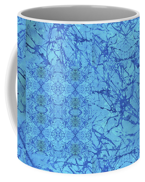 Blue Coffee Mug featuring the painting Blue Water Patchwork by Sue Duda