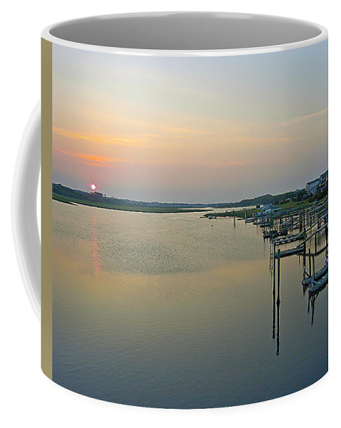 Blue Water Point Coffee Mug featuring the photograph Blue Water Point Sunset by Robert Ponzoni
