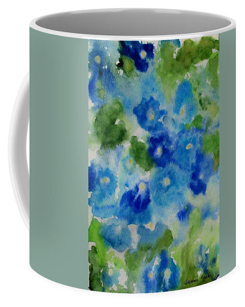 Wet Coffee Mug featuring the painting Blue Wet On Wet by Jamie Frier