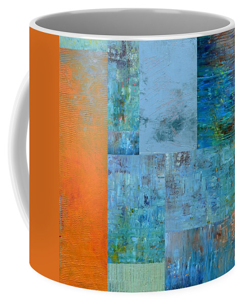Monochromatic Coffee Mug featuring the painting Blue with Orange 2.0 by Michelle Calkins