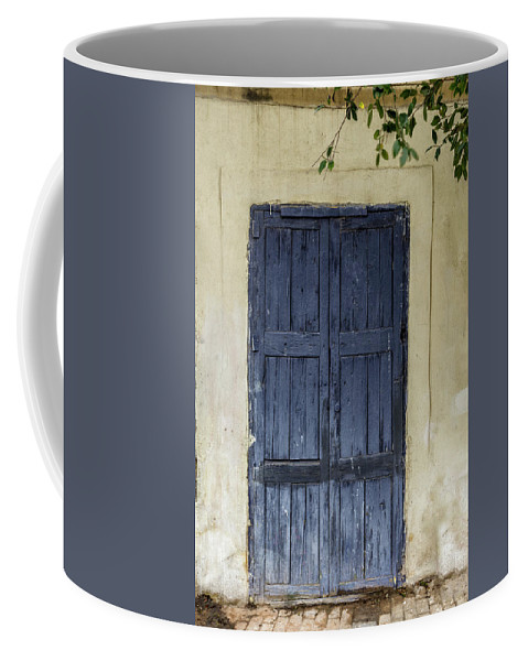 Europe Coffee Mug featuring the digital art Blue Wood Door by Tsafreer Bernstein