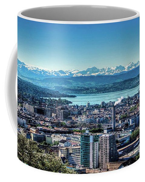 Blue Coffee Mug featuring the photograph Blue Zurich by Mirza Cosic