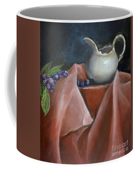 Blueberries Coffee Mug featuring the painting Blueberries And Cream by Portraits By NC