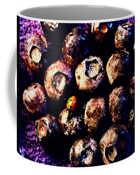 Blueberries Coffee Mug featuring the photograph Blueberries And Ladybug by Nancy Mueller