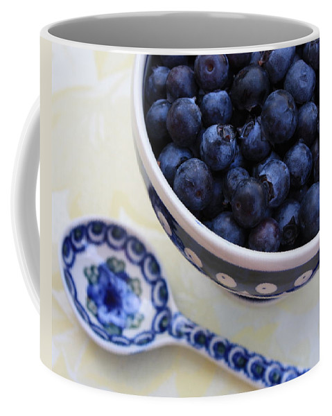Still Life Of Fruit Coffee Mug featuring the photograph Blueberries And Spoon by Carol Groenen