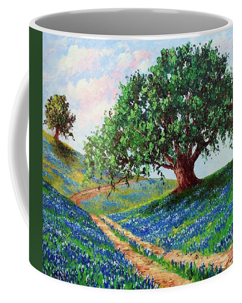 Bluebonnet Coffee Mug featuring the painting Bluebonnet Road by David G Paul