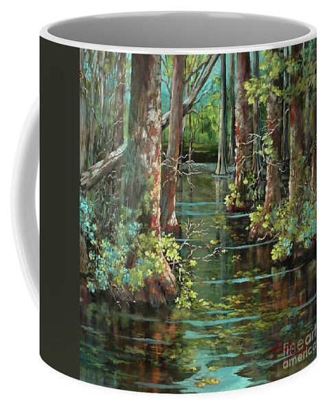 Louisiana Bayou Coffee Mug featuring the painting Bluebonnet Swamp by Dianne Parks