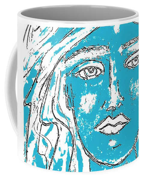 Abstract Coffee Mug featuring the painting Blues Girl by Kathy Augustine