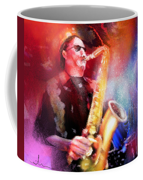 Music Coffee Mug featuring the painting Blues Saxophonist by Miki De Goodaboom