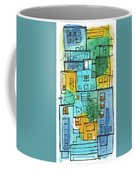 City Coffee Mug featuring the painting Blues Street by Tonya Doughty