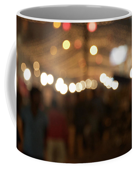 Delhi Coffee Mug featuring the photograph Blurred Delhi Street Scene At Night by Ndp