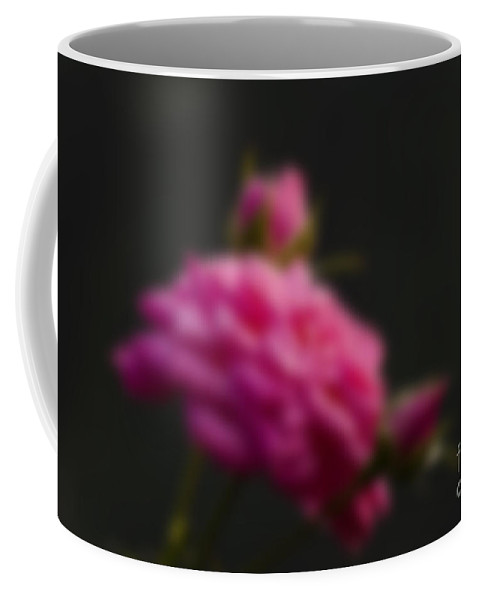 Pink Coffee Mug featuring the photograph Blurred Pink Rose Petals With Buds Dark Background by Rudra Narayan Mitra