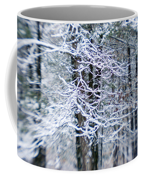 Woodland Views Coffee Mug featuring the photograph Blurred Shot Of Snow-covered Trees by Tim Laman