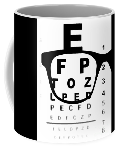Eye Coffee Mug featuring the digital art Blurry Eye Test Chart by Bigalbaloo Stock
