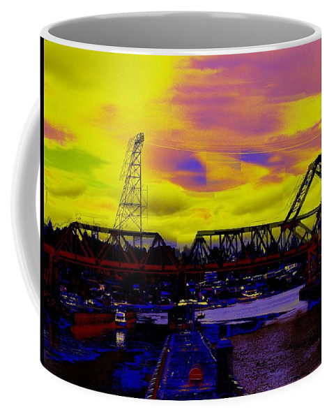 Seattle Coffee Mug featuring the photograph Bnsf Trestle At Salmon Bay by Tim Allen