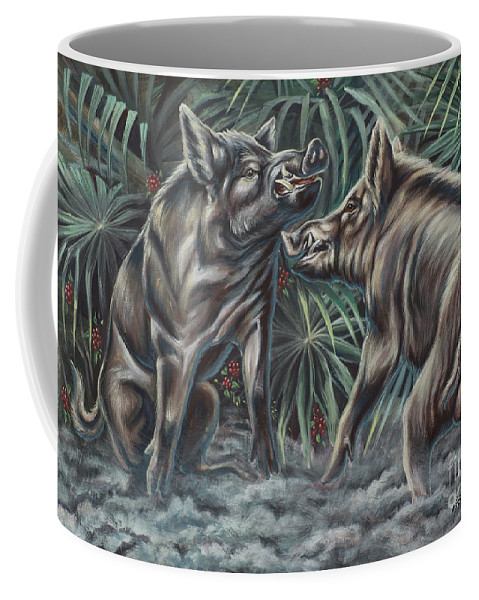 Nature Coffee Mug featuring the photograph Boar Room Brawl by Monica Turner