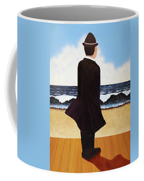 Seascape Coffee Mug featuring the painting Boardwalk Man by Thomas Blood