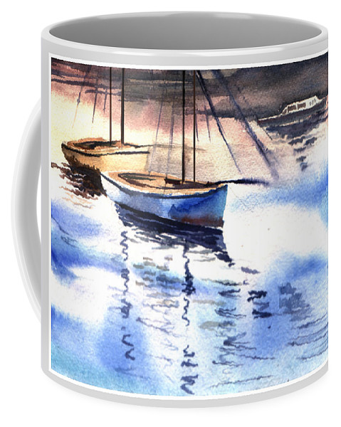 Watercolor Coffee Mug featuring the painting Boat And The River by Anil Nene