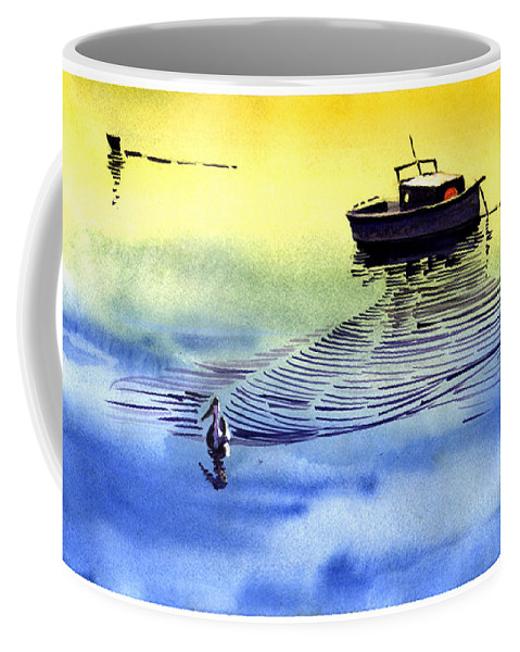 Watercolor Coffee Mug featuring the painting Boat And The Seagull by Anil Nene
