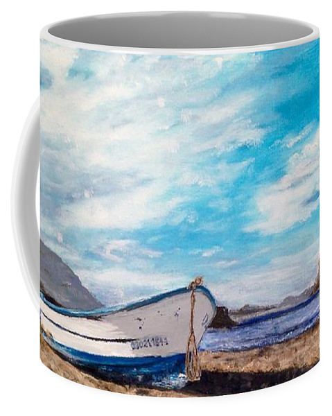 Beached Fishing Boat On A Quiet Island Morning. Coffee Mug featuring the painting Boat Ashore by Diane Donati