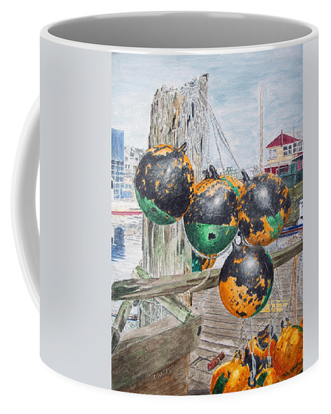 Boat Bumpers Coffee Mug featuring the painting Boat Bumpers by Dominic White