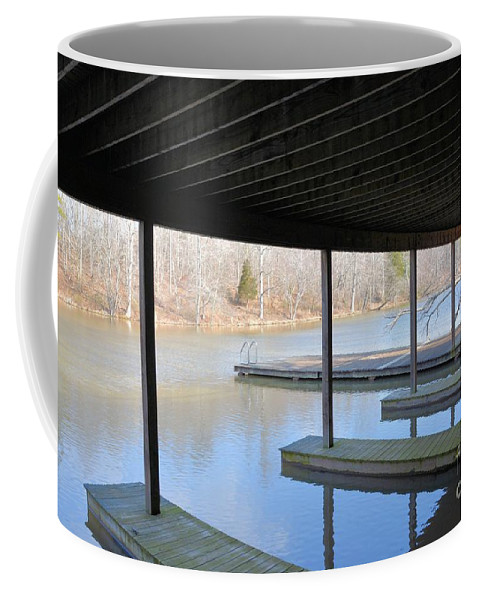 Boat House Coffee Mug featuring the photograph Boat House At Sweet Briar by Katherine W Morse