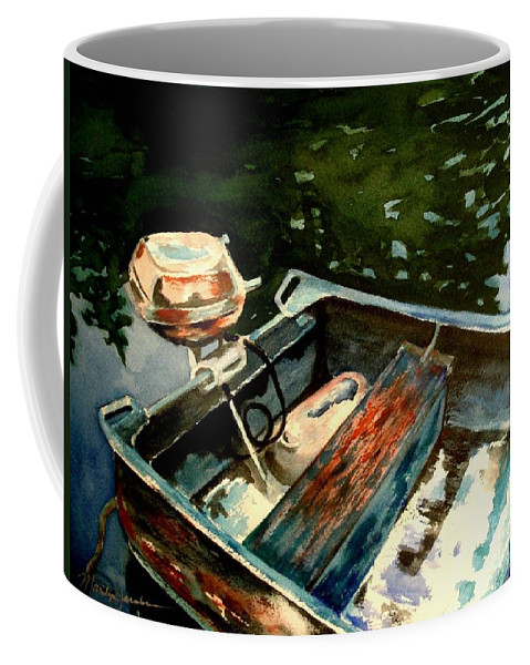 Boat Coffee Mug featuring the painting Boat In Fog 2 by Marilyn Jacobson