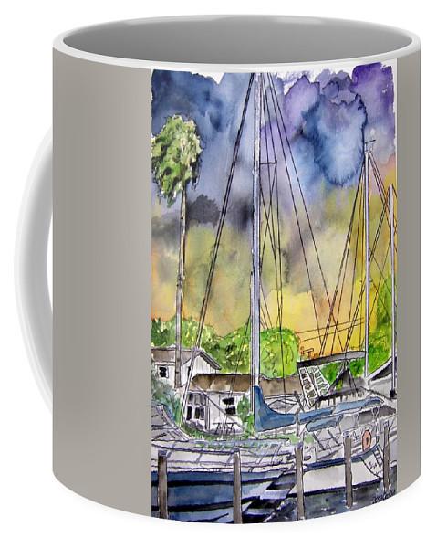 Marina Coffee Mug featuring the painting Boat Marina by Derek Mccrea
