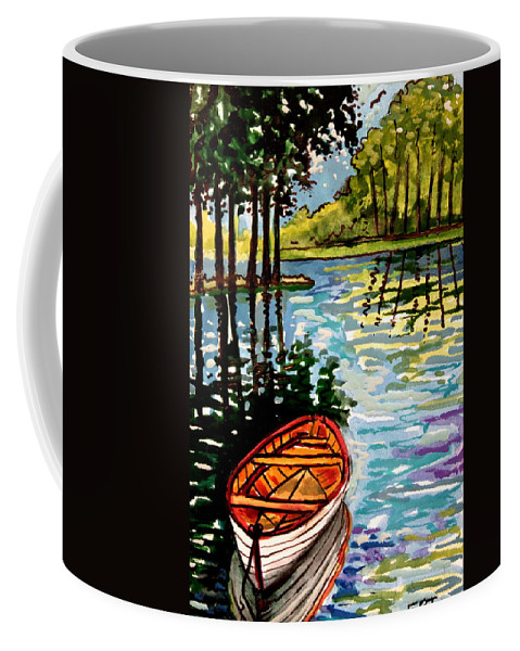Boat Coffee Mug featuring the painting Boat On The Bayou by Elizabeth Robinette Tyndall