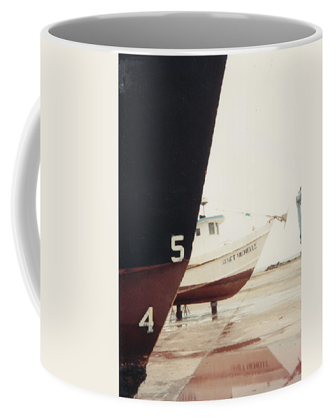 Boat Reflection Coffee Mug featuring the photograph Boat Reflection And Angles by Cindy New