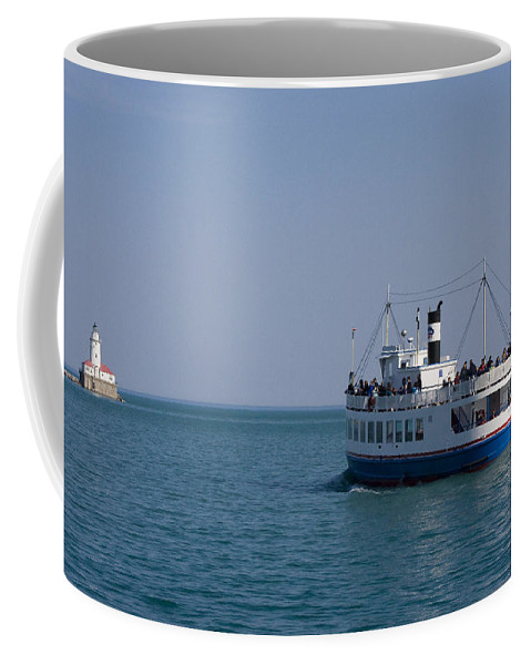 Boat Ride Chicago Windy City Tourist Tourism Travel Water Lake Michigan Attraction Blue Sky Coffee Mug featuring the photograph Boat Ride by Andrei Shliakhau