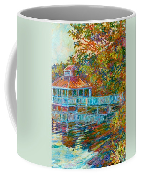 Mountain Lake Coffee Mug featuring the painting Boathouse At Mountain Lake by Kendall Kessler
