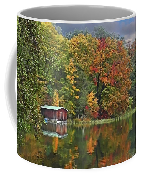 Boathouse Coffee Mug featuring the painting Boathouse by Harry Warrick
