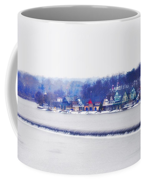 Boathouse Row Coffee Mug featuring the photograph Boathouse Row In Winter by Bill Cannon