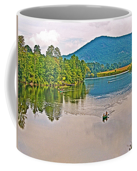 Boating On Connecticut River Between Vermont And New Hampshire Coffee Mug featuring the photograph Boating On Connecticut River Between Vermont And New Hampshire by Ruth Hager