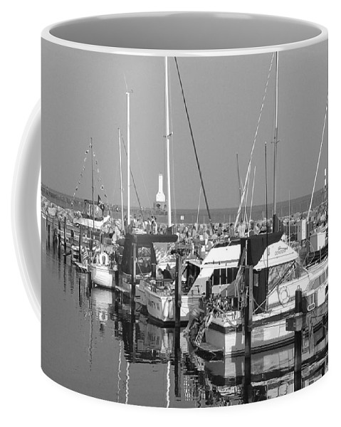 Sailboats Coffee Mug featuring the photograph Boats And Reflections B-w by Anita Burgermeister