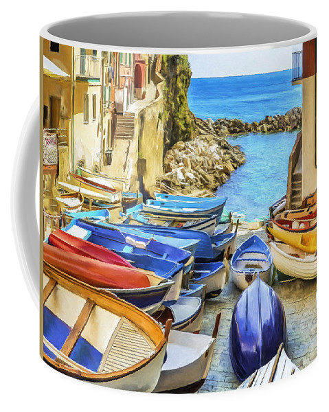 Cinque Terre Coffee Mug featuring the painting Boats At Cinque Terre by Dominic Piperata