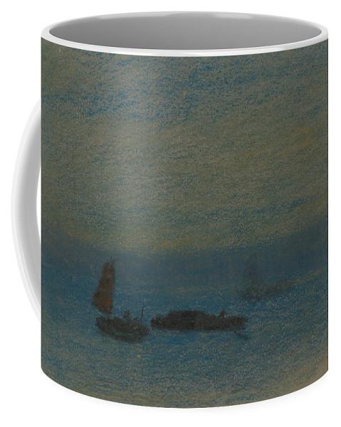 19th Century Art Coffee Mug featuring the pastel Boats At Night by Arthur Bowen Davies