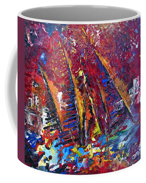 Boats Painting Seacape Spain Acrylics Calpe Costa Blanca Coffee Mug featuring the painting Boats In Calpe 02 Spain by Miki De Goodaboom
