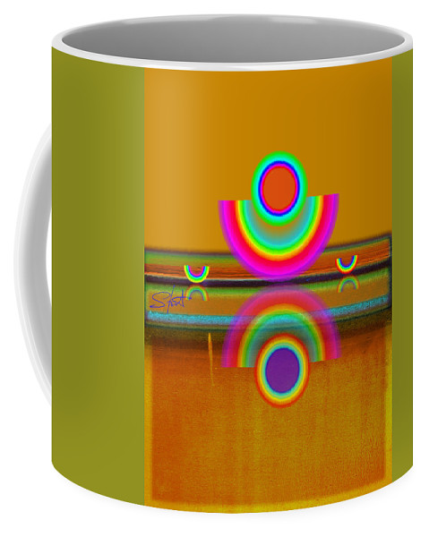 Reflections Coffee Mug featuring the painting Boats In Ochre by Charles Stuart