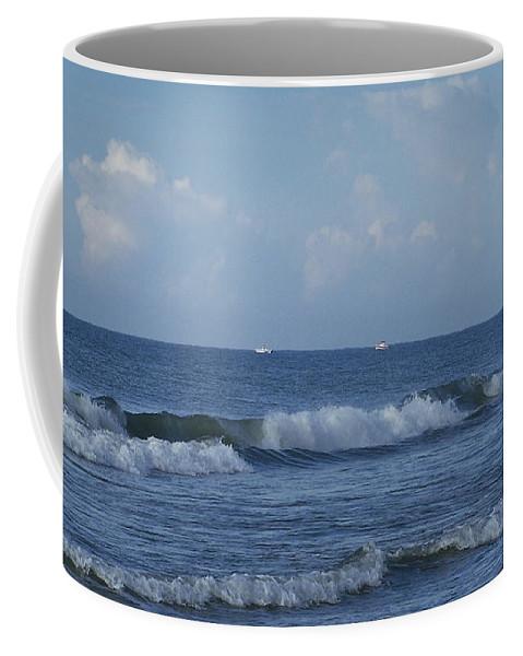 Ocean Coffee Mug featuring the photograph Boats On The Horizon by Teresa Mucha
