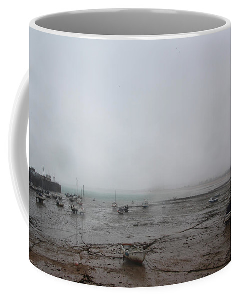 Boats Coffee Mug featuring the photograph Boats With Light Rain At Low Tide by Tom Conway