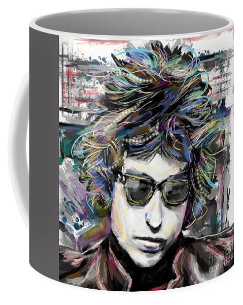 Bob Dylan Coffee Mug featuring the mixed media Bob Dylan Art by Ryan Rock Artist