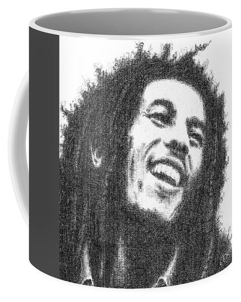 Bob Coffee Mug featuring the drawing Bob Marley by Conor O'Brien